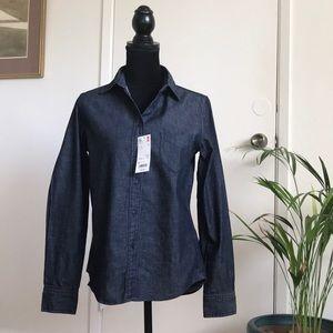 NWT Uniqlo denim long sleeve shirt size small